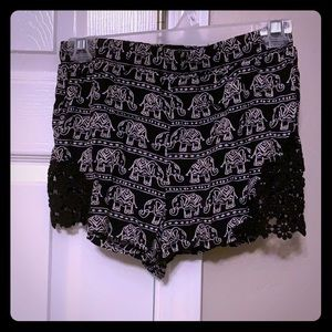Black and white elephant shorts with lace